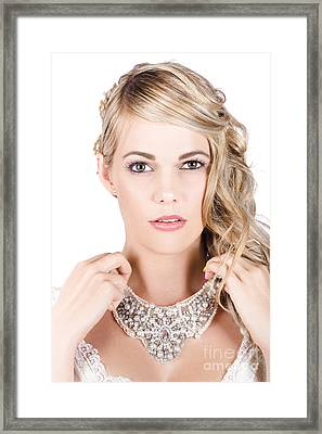 Beautiful Bride Holding Necklace Framed Print by Jorgo Photography - Wall Art Gallery