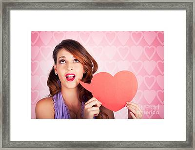 Beautiful Brunette Woman Shouting Out Love Message Framed Print by Jorgo Photography - Wall Art Gallery