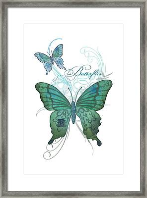 Beautiful Butterflies N Swirls Modern Style Framed Print by Audrey Jeanne Roberts