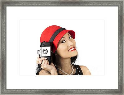 Beautiful Chinese Woman Holding Old Film Camera Framed Print by Jorgo Photography - Wall Art Gallery