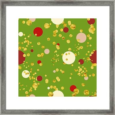 Modern Christmas Golden Polka Dod Pattern Framed Print by Tina Lavoie