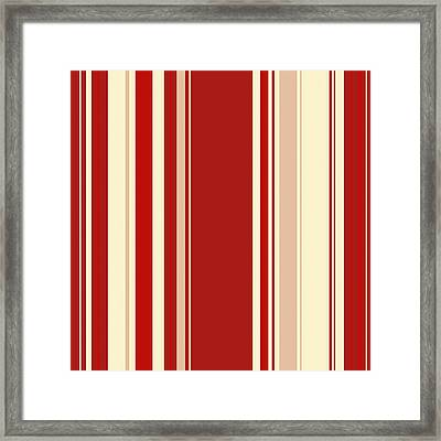 Modern Christmas Stripe Pattern Series Red Currant, Cream, Blush Framed Print