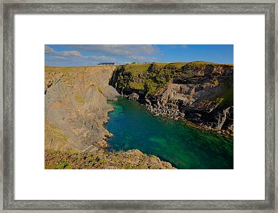 Beautiful Coastal Inlet Turquoise Blue Sea Pepper Cove Between Treyarnon And Porthcothan From Path Framed Print