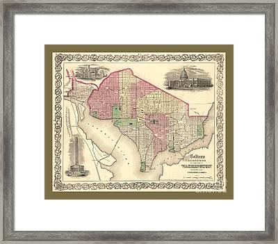 Beautiful Collectable Vintage Wall Map Of Old Washington Dc With Landmarks And Monuments Framed Print