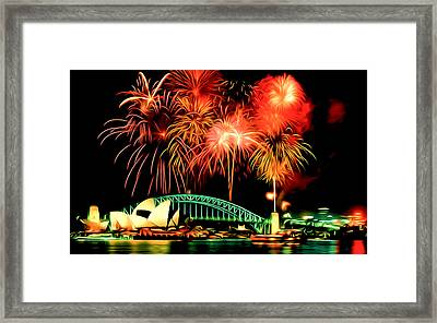 Beautiful Colorful Holiday Fireworks 2 Framed Print by Lanjee Chee