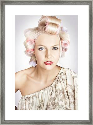 Beautiful Curly Blond Hair Girl At Beauty Salon Framed Print