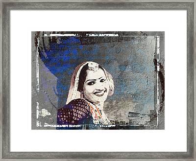 Beautiful Dancer Portrait Woman Blue Rajasthani Udaipur India 1b Framed Print by Sue Jacobi