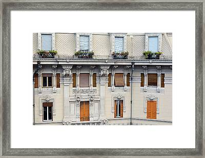 Beautiful Decorative Classical Building Facade From Genova Framed Print by Oana Unciuleanu