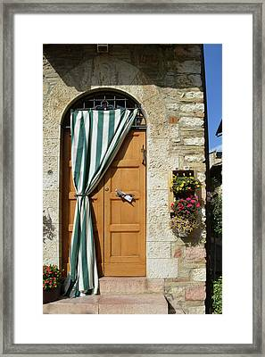Beautiful Door With Curtain From Assisi. Framed Print by Oana Unciuleanu