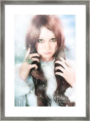Beautiful Enchanting Snow Princess Woman Framed Print