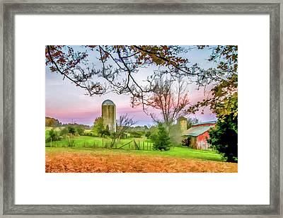 Beautiful Farm In Fall Framed Print by Lisa Lemmons-Powers