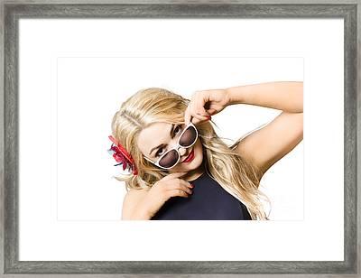 Beautiful Fashion Woman Wearing Sunglasses Framed Print by Jorgo Photography - Wall Art Gallery