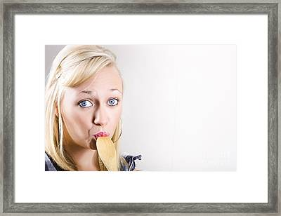 Beautiful Female Cook Tasting Food On Wooden Spoon Framed Print by Jorgo Photography - Wall Art Gallery