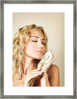 Beautiful Female Holding Calla Flower  Framed Print by Anna Om