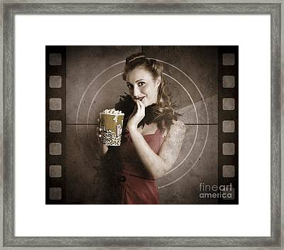 Beautiful Film Actress On Vintage Movie Screen Framed Print