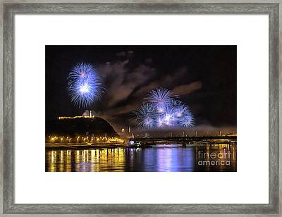 Beautiful Fireworks In Budapest Hungary Framed Print
