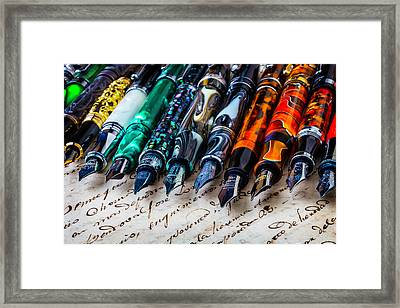 Beautiful Fountain Pens Framed Print by Garry Gay