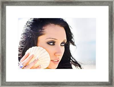 Beautiful Girl Holding A Cockle Shell Framed Print