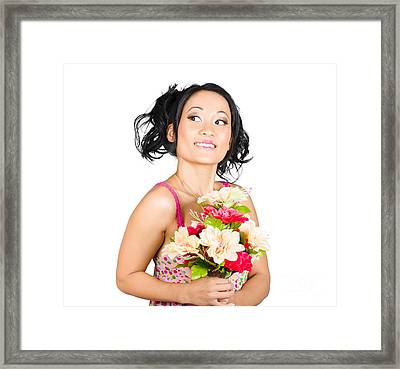 Beautiful Girl With Colourful Bunch Of Flowers Framed Print by Jorgo Photography - Wall Art Gallery