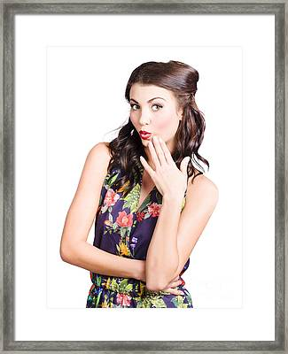 Beautiful Girl With Red Lips Expressing Surprise Framed Print by Jorgo Photography - Wall Art Gallery