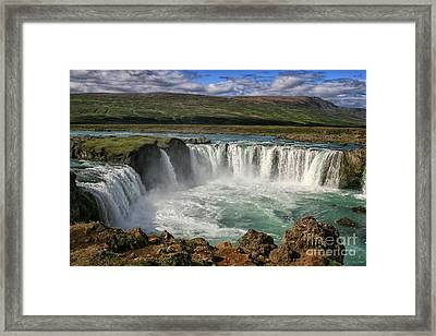 Beautiful Godafoss Waterfall In Iceland Framed Print