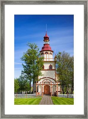 Beautiful Grundarkirkja Church North Iceland Europe Framed Print