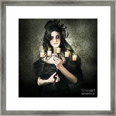 Beautiful Grunge Woman In Dark Vogue Fashion Style Framed Print