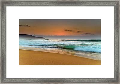 Beautiful Hazy Sunrise Seascape  Framed Print