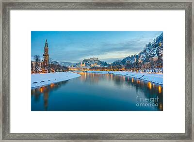 Beautiful Historic City Of Salzburg  In Winter At Night, Austria Framed Print