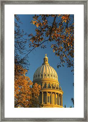Beautiful Idaho State Capitol In Autumn Morning Framed Print by Vishwanath Bhat