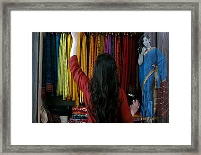 Beautiful Indian Women Expensive Women S Fashion Silk Silken Sarees From Mysore Spepciality Of Benga Framed Print by Navin Joshi