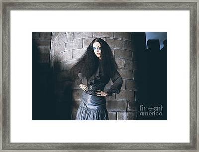 Beautiful Jester Posing Next To Castle Tower Framed Print