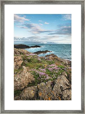 Beautiful Landscape Image Of Rocky Beach With Snowdonia Mountain Framed Print