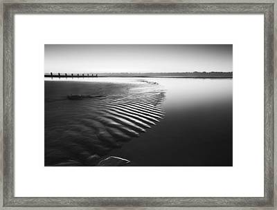 Beautiful Low Tide Beach Vibrant Sunrise In Black And White Framed Print by Matthew Gibson