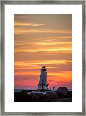 Framed Print featuring the photograph Beautiful Ludington Lighthouse Sunset by Adam Romanowicz