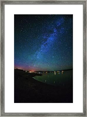 Beautiful Milkyway Over Lake Cascade In Idaho Usa Framed Print