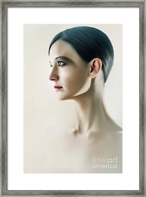 Framed Print featuring the photograph Beautiful Model Highkey Fashion Studio Portrait by Dimitar Hristov