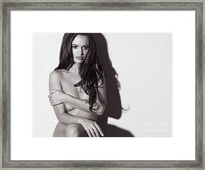 Beautiful Naked Woman Standing At A Wall Framed Print by Oleksiy Maksymenko