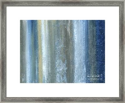 Beautiful Navy Blue And Gray Original Abstract Acrylic Painting Lakewood By Megan Duncanson Framed Print