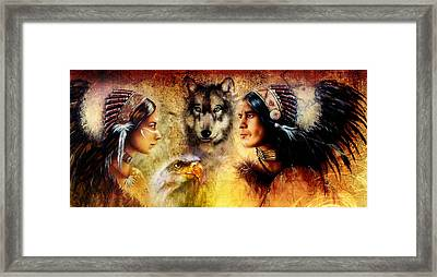 Beautiful Painting Of An Young Indian Man And Woman  Accompanied Framed Print by Jozef Klopacka