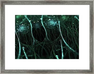 Beautiful Particle Abstract Background With Bokeh Effect Framed Print