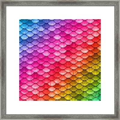 Beautiful Pastel Diagonal Rainbow Mermaid Fish Scales Framed Print