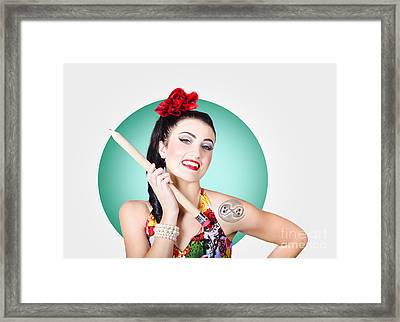 Beautiful Pin-up Girl Getting Skull Tattoo Stencil Framed Print by Jorgo Photography - Wall Art Gallery