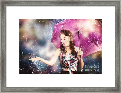 Beautiful Pin Up Woman Catching Rain Water Framed Print by Jorgo Photography - Wall Art Gallery
