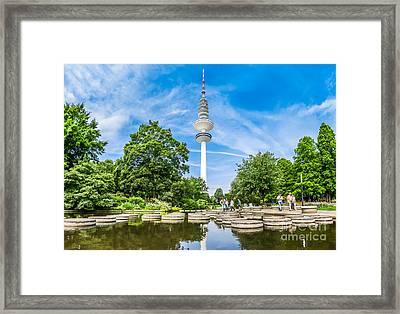 Beautiful Planten Um Blomen Park And Famous Heinrich-hertz-turm, Framed Print