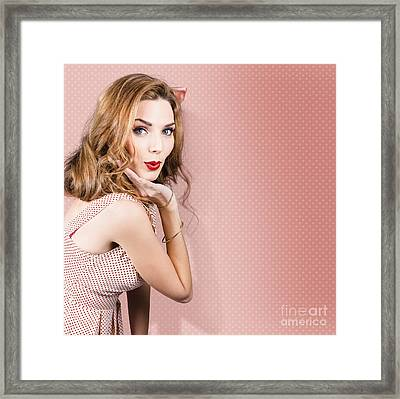 Beautiful Portrait Of 1950 Model Girl In Pin Up Framed Print by Jorgo Photography - Wall Art Gallery