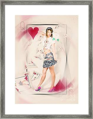 Beautiful Queen Of Hearts Playing Card Pin-up Framed Print by Jorgo Photography - Wall Art Gallery