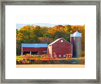 Framed Print featuring the painting Beautiful Red Barn 2 by Lanjee Chee