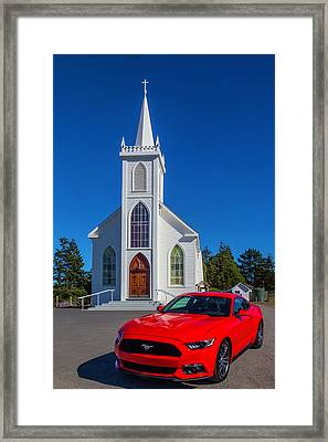 Beautiful Red Mustang  Framed Print by Garry Gay