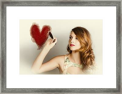 Beautiful Retro Girl Painting Red Love Heart Framed Print by Jorgo Photography - Wall Art Gallery